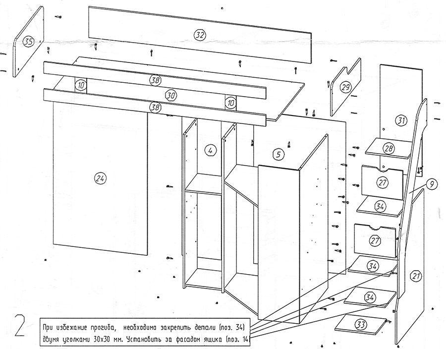 кровать-чердак индиго инструкция по сборке